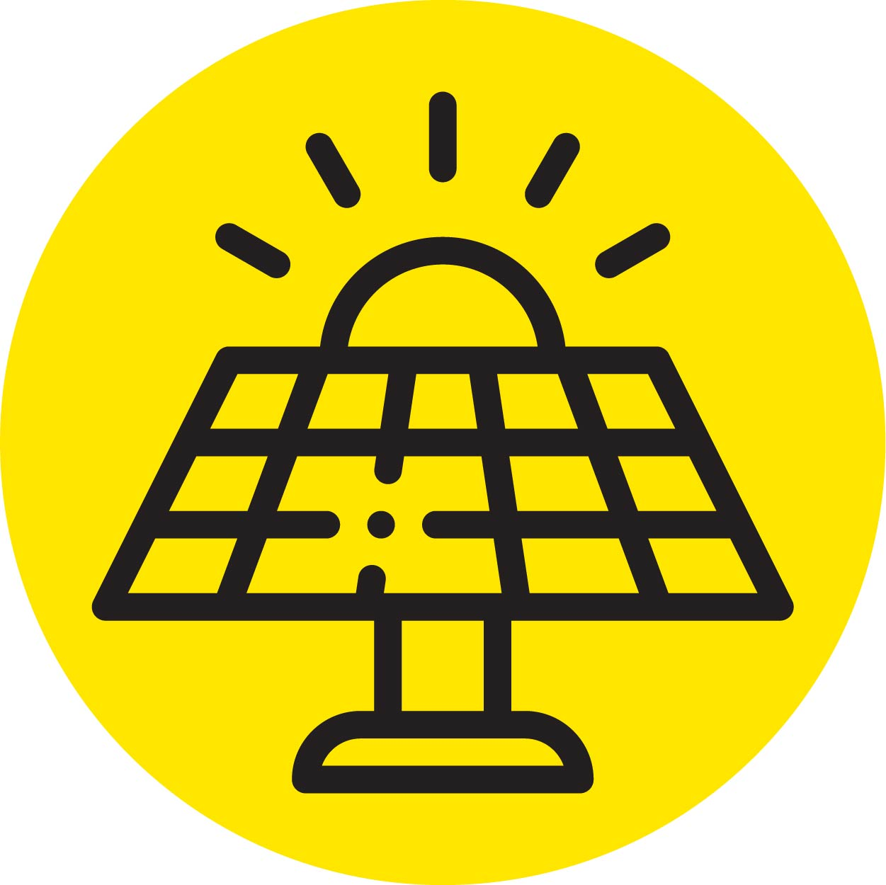 solar panel with sun in the background icon