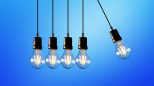 light bulbs with a blue background