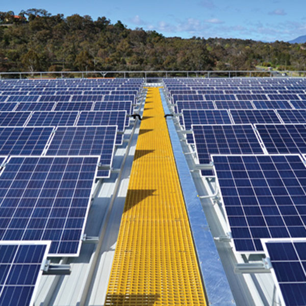 Row of blue solar panels