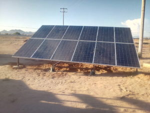 solar array powering water pump