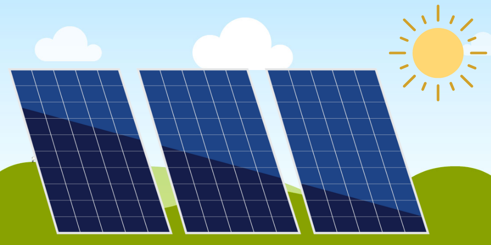 Solar panels with sun and background